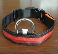 Adjustable Fashionable Flashing Nylon LED Light Pet Dog Collar Safety Collar for Christmas (DD-WT, Red, L)