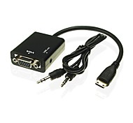 Mini HDMI to VGA Adapter Cable with 3.5mm Audio Cable