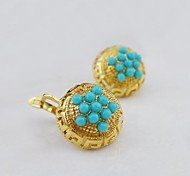 18K Gold Plated Turquoise Circle Earrings-180