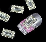 10pcs White Rectangular Frame DIY Alloy Accessories Nail Art Decoration