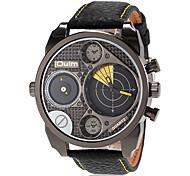 Herren-Militär zwei Zeitzonen Lederband Quarz-Armbanduhr (farbig sortiert)