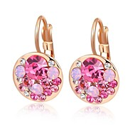 Unique 18K Rose Plated Jewelry Use Shining Small Piece Austria Pink Crystal Charm Round Drop Earrings