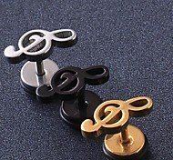 European Fash Musical Note  Titanium Steel Stud Earrings(Black,Silver,Gold) (1 Pc)