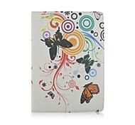 fiore e la farfalla pattern di cuoio dell'unità di elaborazione caso corpo pieno con il basamento e la penna di capacità per ipad mini