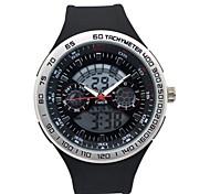 Men's Round Sports Watch PU Strap LED Display Japanese Quartz Watch Shockproof  Dual Display Wrist Watch