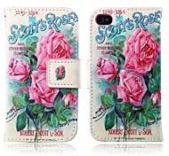 rosa Rosen-PU-Leder Ganzkörper-Abdeckung mit Standplatz und Kartenslot für iPhone 4 / 4S