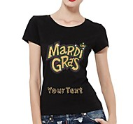 Customized T-shirts Mardi Gras Pattern Women's Cotton Short Sleeves