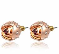 belle 18k plaqué or rose utilisation de bijoux brillant cristal violet fleur rose boucles d'oreille