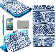 COCO FUN® Blue Elephant Pattern PU Leather Case with Screen Protector and Stylus for Samsung Galaxy Core GT-I8260 I8262