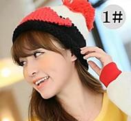 lana dobladillos jacquard de moda de las mujeres del sombrero de punto