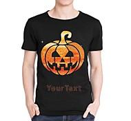 Personalized Rhinestone T-shirts Halloween Pumpkin Ghost Pattern Men's Cotton Short Sleeves