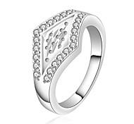 Fashion Women (Diamond Design) White Silver-Plated Women Rings (Silver) (1 Pc)