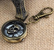Unisex Round-Shaped Hollowed Skull Pattern Upturned Keychain Watch(1Pc) Cool Watches Unique Watches
