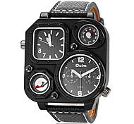 la boîte de montre carrée double fuseaux horaires bracelet en cuir bracelet à quartz pour hommes (couleurs assorties)
