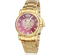 Women's Hollow Heart Dial Gold Steel Band Auto Mechanical Wrist Watch (Wrist Watch)