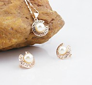 18K Russia CC/585 Golden Plated Rose Color Pearl Jewelry Set