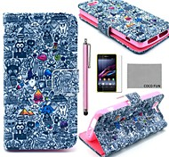 COCO FUN® Cartoon Graffiti Pattern PU Leather Case with Film and Stylus for Sony Xperia Z1 mini Compact D5503