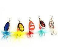 5pcs cores aleatórias waterdrop pesca de trutas enfrentar ferramenta gancho colher isca isca com 5g borla reflexão de luz