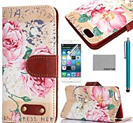 COCO FUN® Retro Floral Pattern PU Leather Full Body Case for iPhone 6 6G 4.7 with Screen Protecter, Stand and Stylus
