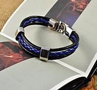 azuis frescas pulseiras de couro da forma dos homens pu