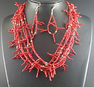 Fashion Jewelry Set with Earrings Women Coral Beads Statement Choker Necklaces