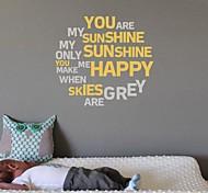 jiubai® citazione tu sei il mio sole muro decalcomania della parete dell'autoadesivo, 58 centimetri * 58 centimetri