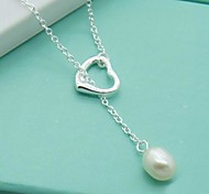 Contracted Fashion Silver Plated Pearl Pendant Necklace