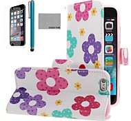 COCO FUN® Mixed Floral Pattern PU Leather Full Body Case for iPhone 6 6G 4.7 with Screen Protecter, Stand and Stylus