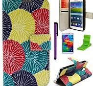 patrón de diente de león multicolor caja de cuero de la PU con el protector de pantalla, lápiz óptico y soporte para i9600 Samsung Galaxy S5