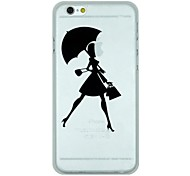 Girl Holding An Umbrella Pattern PC Hard Transparent Back Cover Case for iPhone 6