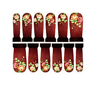 12PCS Flower Pattern Watermark Nail Art Stickers C3-011