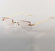 [Free Lenses] Men's Titanium Alloy Rectangle Rimless Crystal Prescription Eyeglasses