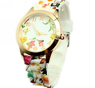 Women's Fashion Colorful Flower Pattern Silicone Band Quartz Wrist Watch