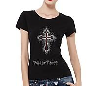 maniche strass personalizzato t-shirt modello trasversale del cotone delle donne brevi