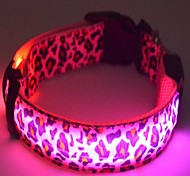 Gatos / Perros Collar Luces LED / Pilas incluidas / Leopardo Blanco / Rosado / Amarillo Nilón