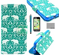 COCO FUN® Green Elephant Pattern PU Leather Full Body Case with Screen Protector for iPhone 5C