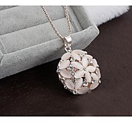 Love Is Your Stereo Opal Flower Long Pendant Necklaces