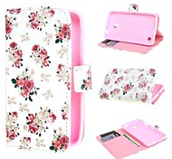 White Flower Design Leather Case Cover with Stand and Card Slot for Nokia Lumia 630 635