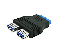 2-Port USB 3.0 A Female to 20 PIN Female Adapter Black