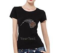 Personalized Rhinestone T-shirts Basketball Pattern Women's Cotton Short Sleeves