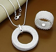Contracted Fashion 925 Silver Plated Necklace And Ring Jewelry Set