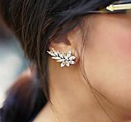 Fashion Leaf Crystal Alloy Clip Earring (Golden,Silver) (1 Pc)