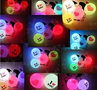 5psc Valentine's Day Lighting Balloon I LOVE YOU LED Luminous Balloon Giant Heart(Random Color)
