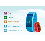 Smart 3D Pedometer Calories Watches Jelly Unisex USB Flash Drive LED Wrsist Watches with Stylish Signature Function W4