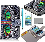 COCO FUN® Green Eye Cat Pattern PU Leather Case with Screen Protector and Stylus for Samsung Galaxy S3 mini I8190