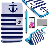 COCO FUN® Navy Blue Anchor Pattern PU Leather Case with Screen Protector, Stylus and Stand for LG G3 D850
