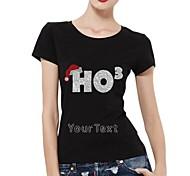 personifizierte Strass T-Shirts chirstmas ho3 Musterfrauen Baumwolle mit kurzen Ärmeln