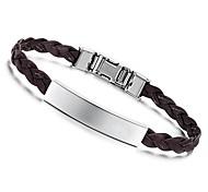 Fashion 21.5cm Men Black Leather Stainless Steel Bracelet