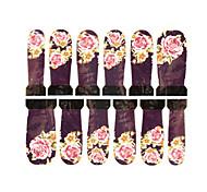 12pcs Blumenmuster lila Wasserzeichen Nail Art Sticker c7-008
