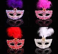 moda cor de penas máscara do laço carnaval
